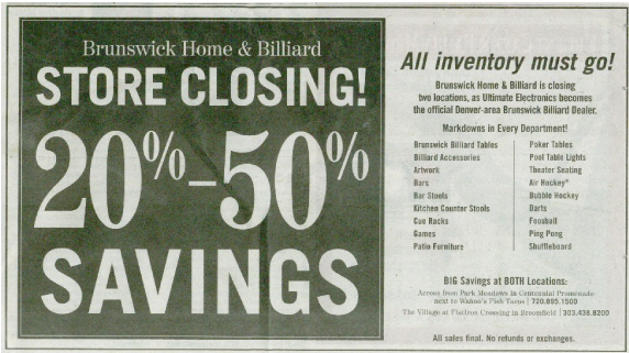 Store closing sale ad.