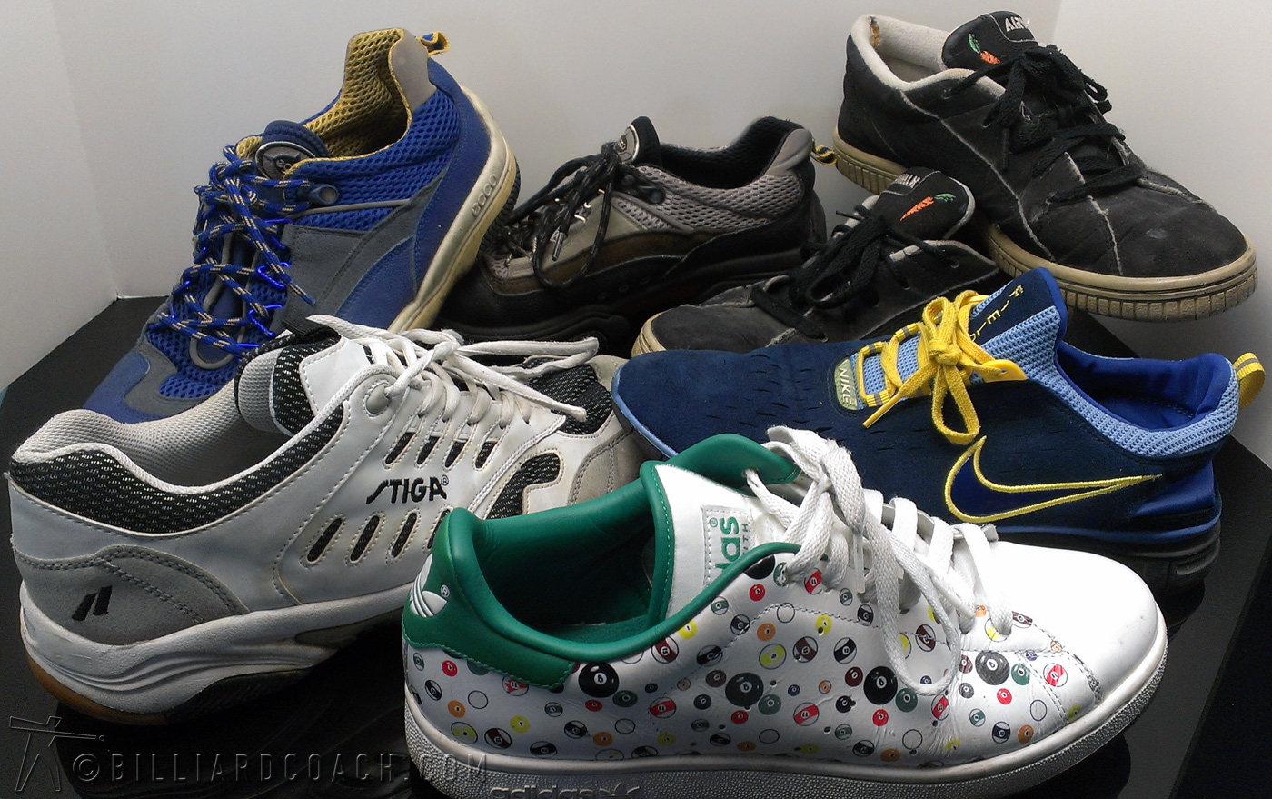 From Left to Right and Back to Front- 2 pair ECCO sailing shoes, Classic Airwalks, Stiga, Nike Free, Adidas.
