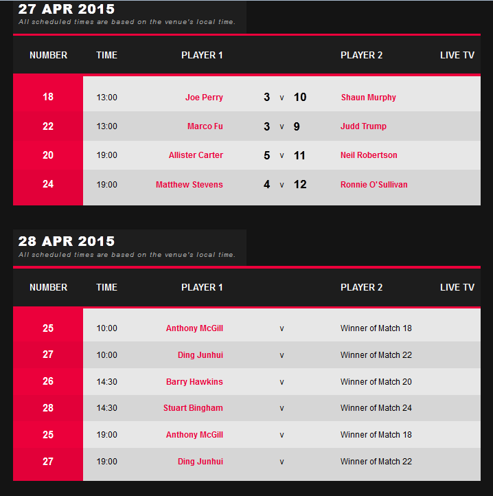 snooker schedule