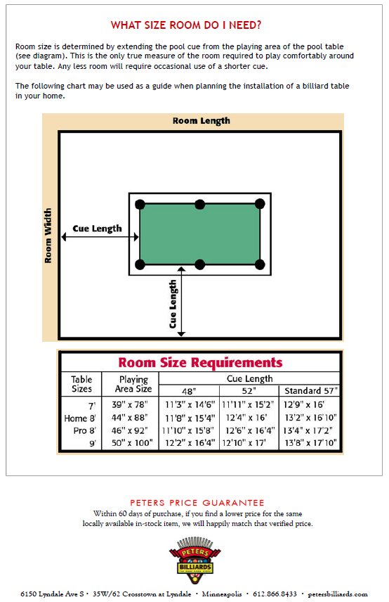 Billiards Table Size Dimensions Designer Tables Reference